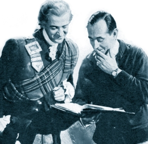 David Niven and Anthony Kimmins talking through the ever-changing script of 'Bonnie Prince Charlie'.