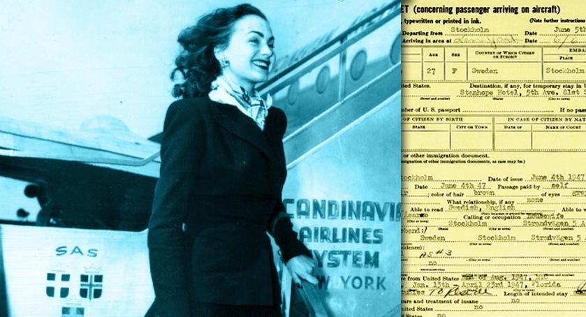 Recently divorced Hjördis Tersmeden arrives in New York, 6th June 1947, after her flight from Stockholm.