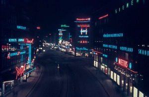 Central Stockholm, all lit up in 1944. On the left is the Royal Cinema an don the right Meeths department store
