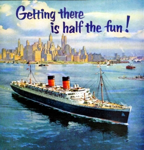 RMS Queen Elizabeth leaving New York.