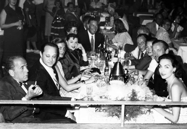 David and Hjördis Niven with the first Rat Pack, 1956