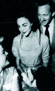Hjordis and David Niven greet Angela Lansbury in Las Vegas, 1955