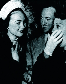 David Niven with Hjordis and Mary Livingstone (Jack Benny's wife), November 1949