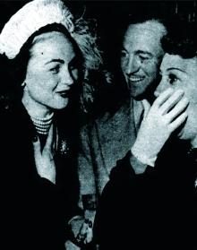 David Niven with Hjordis and Mary Livingstone (Jack Benny's wife), November 1949