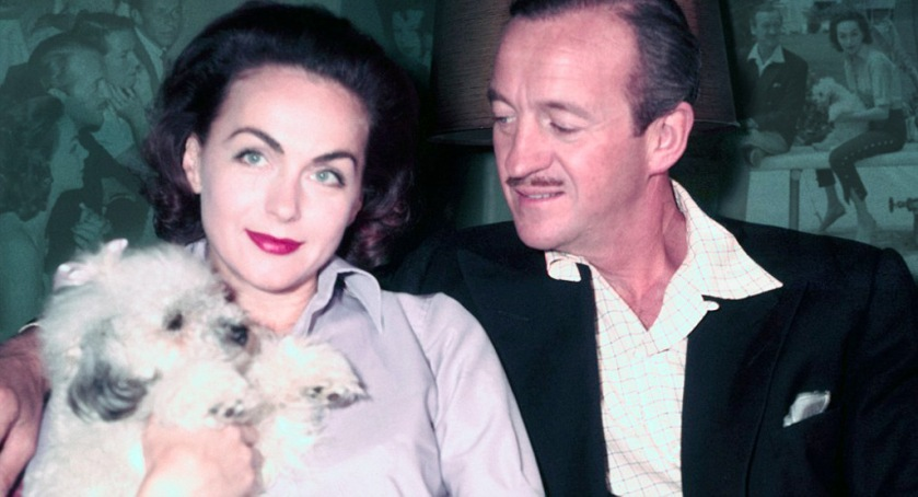 David and Hjördis Niven at The Pink House, 1955