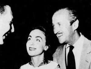 Hjordis and David Niven with Bob Coote, Tijuana, Mexico. July 1955