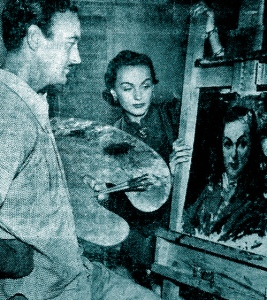 David Niven painting a portrait of Hjordis, 1949