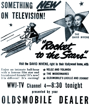 Hjordis and David Niven. Advert for Rocket To The Stars TV Show, 2nd May 1950