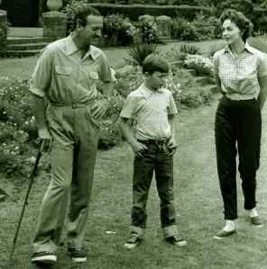 David Niven with Jamie and Hjördis. England, 1954