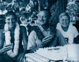 David Niven with his sons David and Jamie, Honolulu, 1959
