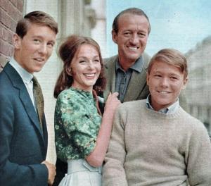 David Jr, Hjordis, David and Jamie Niven, 1960
