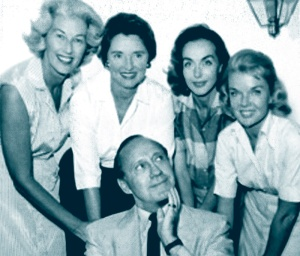 """The Committee for the Improvement of Beverly Hills"", October 1958. Muriel Milland, Dolores Hope, Hjordis Niven and Jeanne Martin with Jack Benny"