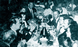The Holmby Hills Rat Pack, dining at Romanoff's in 1956.