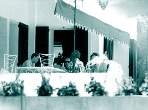 David Niven and family, Lo Scoglietto, 24th July 1961, shot through a telephoto lens.