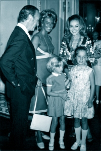 David, Fiona, Hjördis and Kristina Niven in France, with Mme. Medecin. July, 1970