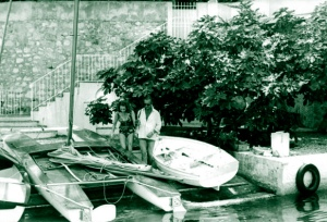 David and Hjördis Niven with catamaran at La Scoglietto, 1964