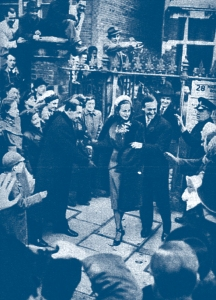 David Niven's wedding. Not the clearest photo, but it shows the extent of the well-wishers and press-men.