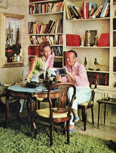A rare interior shot of Hjördis and David Niven at La Scoglietto, 1964