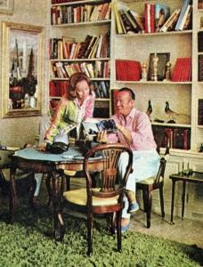 A rare interior shot of Hjördis and David Niven at La Scoglietto, 1964