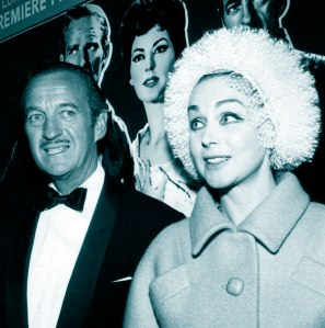 David Niven with Hjördis at the premiere of '55 Days in Peking', 1963
