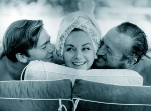 David Niven Jr, HJordis Niven, and David Niven Sr, Cap Ferrat September 1963