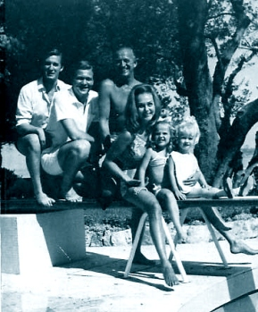 David Niven and his family, Lo Scoglietto, summer 1965