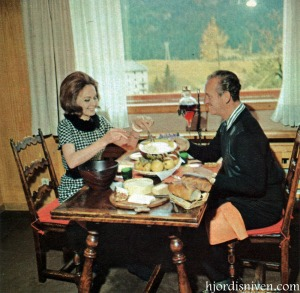 David and Hjördis Niven lunching in their Swiss chalet, April 1965