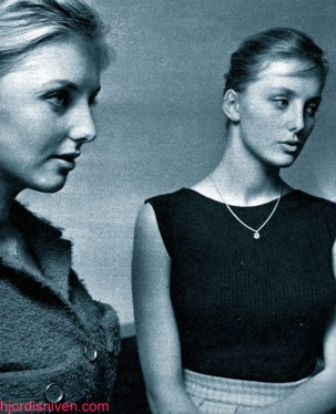 Maj-Lis and Gudrun Genberg preparing to audition for the Folies Bergère, Stockholm. September 1959