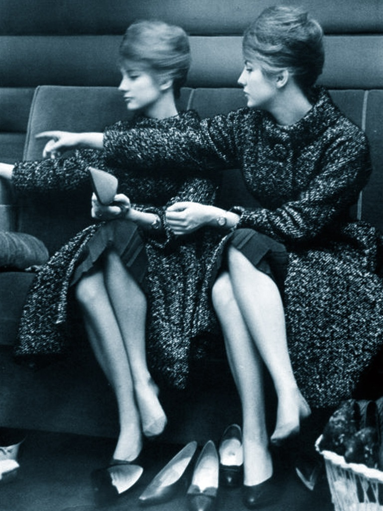 Pia and Mia Genberg modelling for Karl Lagerfeld, Paris 1961