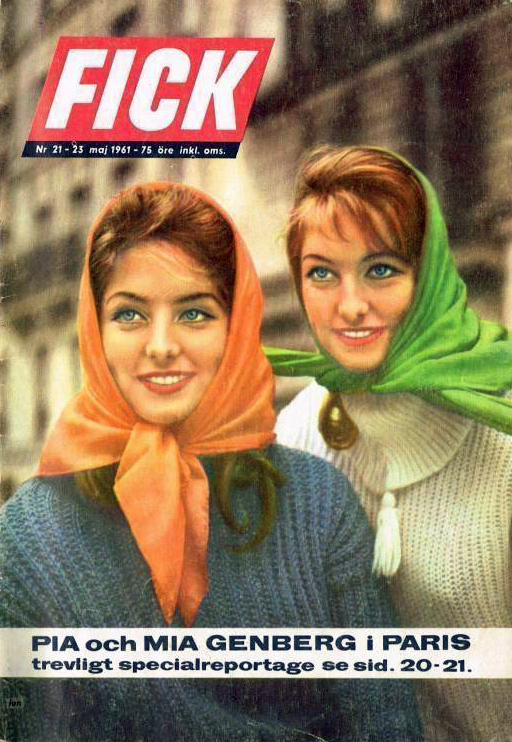 Pia and Mia Genberg on the cover of Fick magazine, Sweden. May 1961