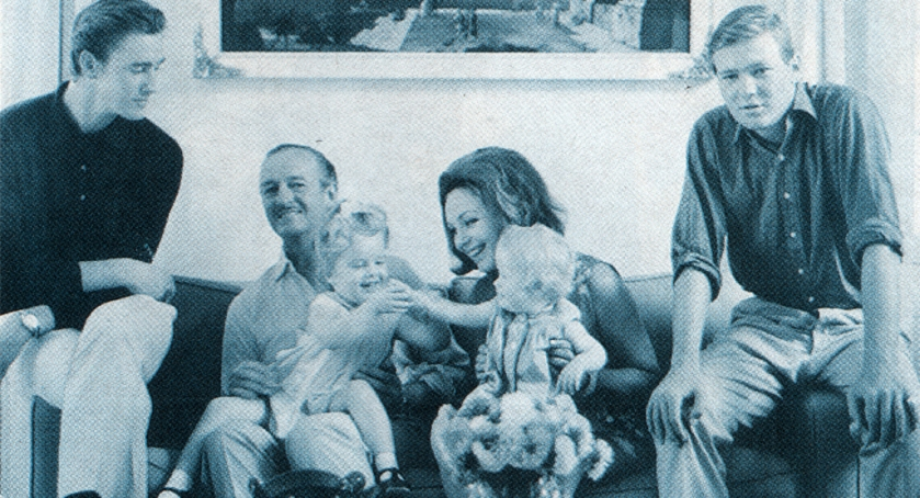 David Niven with his family: David Jr, Kristina, Hjördis, Fiona and Jamie. August 1964