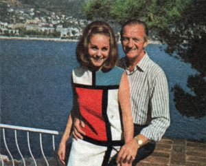 Hjördis Niven in her season 1965-1966 St.Laurent Mondrian dress. She is standing on the terrace outside her bedroom in Lo Scoglietto, with views of the Alps and the coast towards Monaco (which wasn't visible from their home). March 1967.