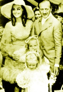 Hjordis, David, Kristina and Fiona at Jamie Niven's wedding, July 1968