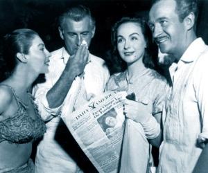 Ava Gardner, Stewart Granger, Hjordis Niven and David Niven, 1956