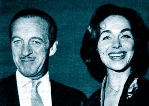 David and Hjordis Niven at film premiere, 1960