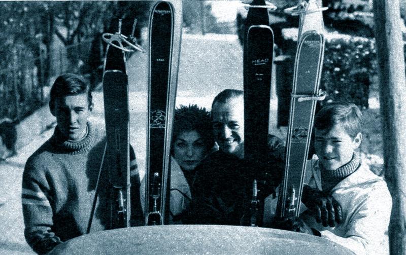 David Junior, Hjördis, David and Jamie Niven in Switzerland, December 1960