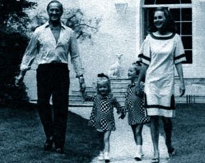 Hjördis and David Niven with Fiona and Kristina. Dig those op art dresses!