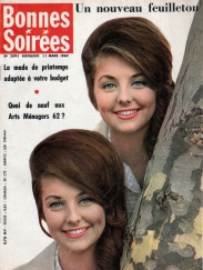 A 1961 photo of Pia and Mia Genberg on the cover of Les Bonnes Soirées magazine, 1962