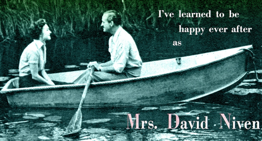 David and Hjördis Niven rowing near their Surrey home, August 1954