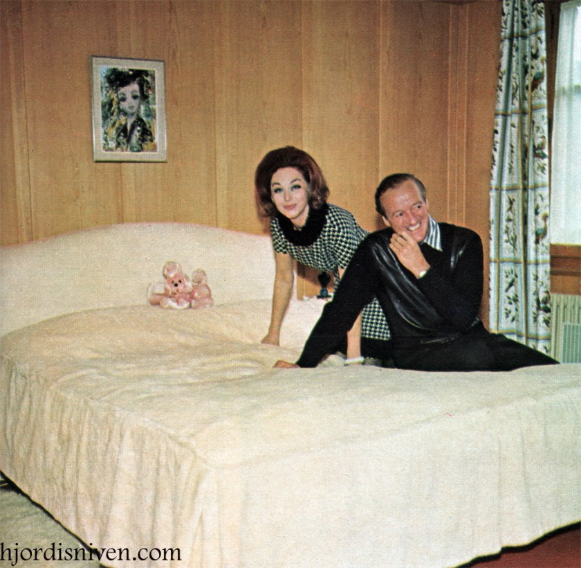 David and Hjördis Niven's bedroom in their chalet at Château-d'Oex, April 1965