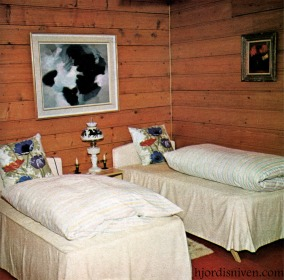 David Niven's grown-up sons' bedroom in their Swiss chalet, April 1965. At this time David Jr was dating Natalie Wood.