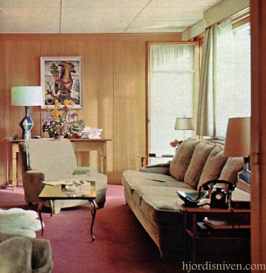 David and Hjördis Niven's living room in their chalet at Chateau D'Oex, April 1965