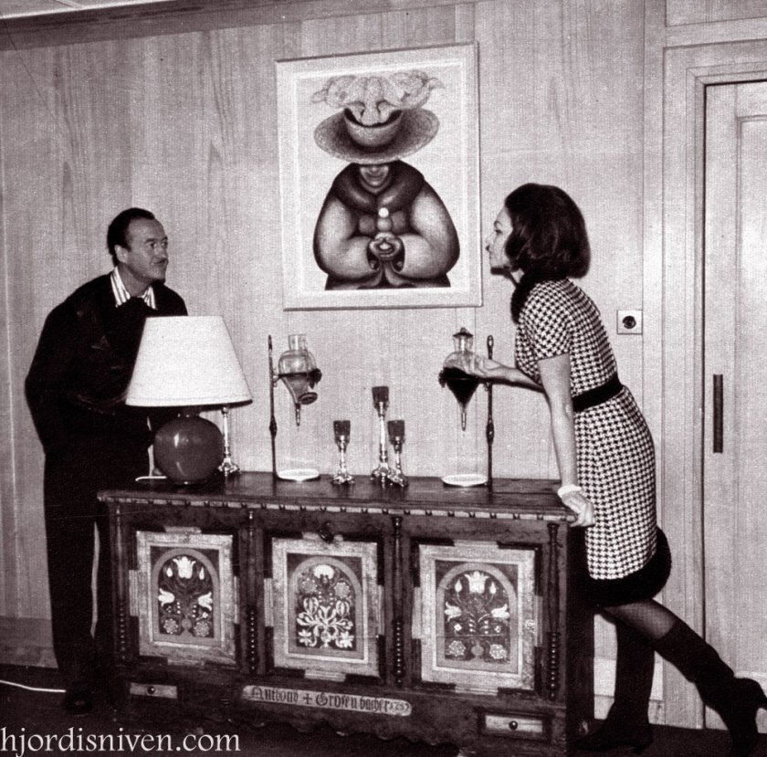 David and Hjördis Niven in in their chalet at Chateau D'Oex, April 1965.