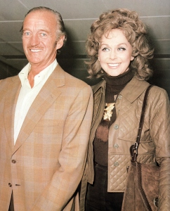 David and Hjordis Niven arrive in London, 11th October 1972
