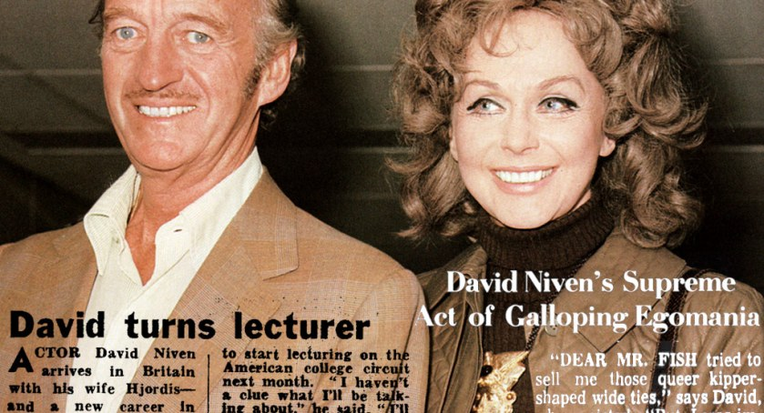 Hjordis and David Niven arrive in London, 11th October 1972