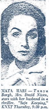 Hjordis gets her face in the Los Angeles Times TV guide, February 1956