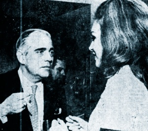 Hjordis Niven and her wig in conversation with Jamie's soon-to-be father-in-law Francis Wetherill. November 1967