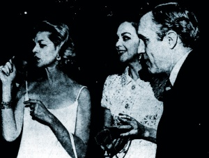 Lauren Bacall, Hjordis Niven and Ms Bacall's husband Jason Robards Jr at Jamie Niven's engagement party. December 1967.