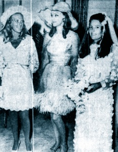 Jamie Niven's wedding day,, July 1968. The bride's mother Mrs Leas, a rather uncomfortable looking Hjordis, and the bride Fernanda Wetherill.
