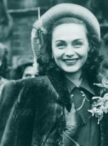 Hjordis Niven, wedding day, 14th January 1948